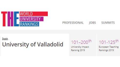 La UVa escala posiciones en el Europe Teaching Rankings 2019 alcanzando el tramo 101 a 125
