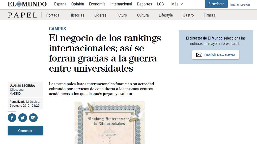Una visión empresarial de los rankings universitarios