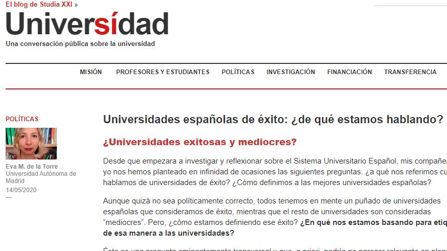 La universidad española y el éxito, la reputación o el prestigio