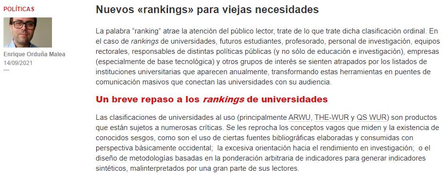 Nuevas métricas para los rankings universitarios